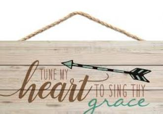 HSA 0133 Veggdekor - Tune My Heart To Sing Thy Grace (11 x 25 cm)